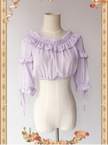 Violet Lovely Puff Sleeve Lolita Super Short Top