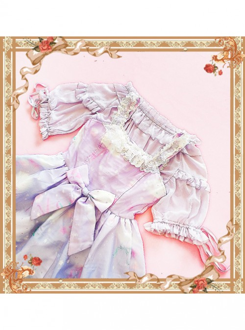 Violet Lovely Puff Sleeve Lolita Super Short Top