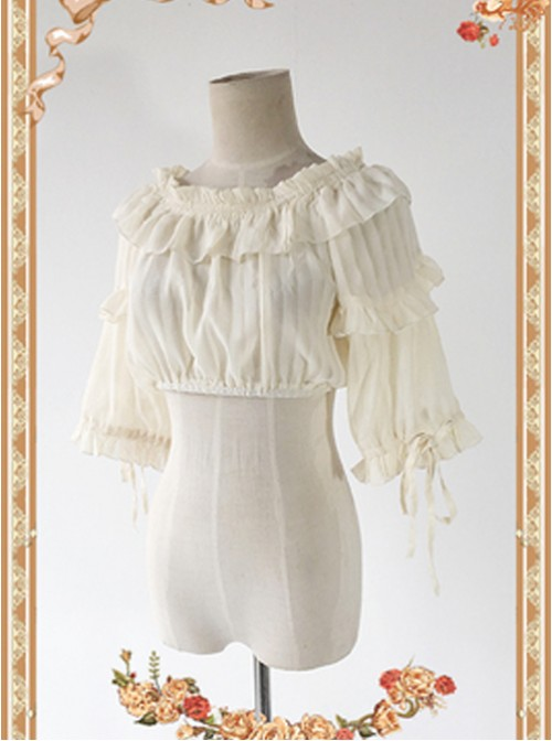 Apricot Color Lovely Puff Sleeve Lolita Super Short Top