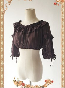 Coffee Color Lovely Puff Sleeve Lolita Super Short Top