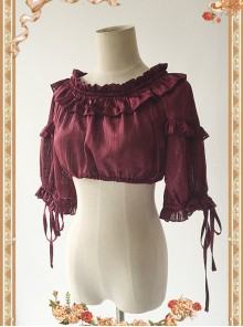 Wine Red Lovely Puff Sleeve Lolita Super Short Top