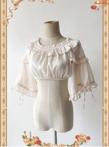 Champagne Pink Lovely Puff Sleeve Lolita Super Short Top