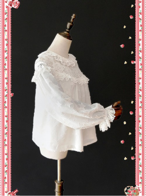 Little Star Hollow Out White Lace Lolita Long Sleeves Shirt