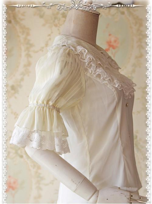 Milky White Glass Striped Doll Collar Lolita Bubble Sleeve Shirt
