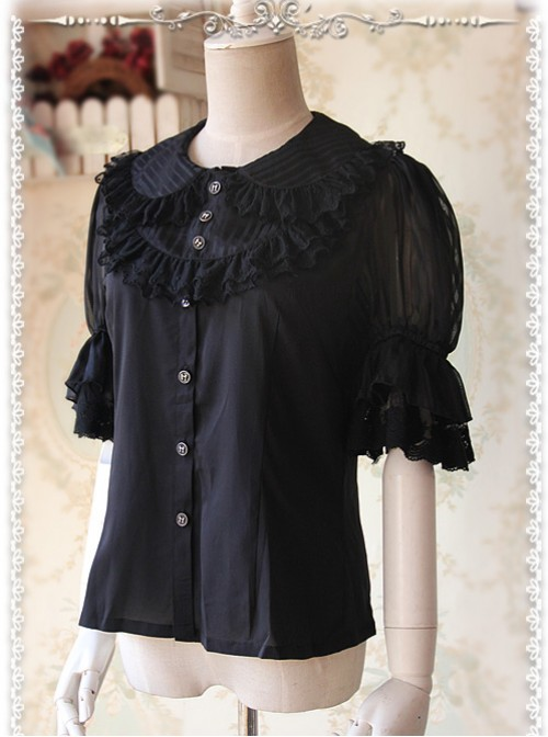 Black Glass Striped Doll Collar Lolita Bubble Sleeve Shirt