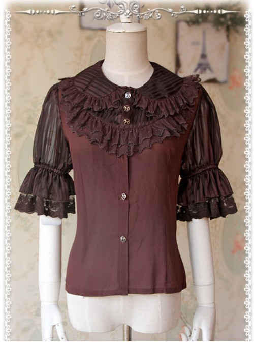 Deep Brown Glass Striped Doll Collar Lolita Bubble Sleeve Shirt