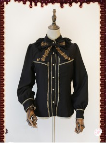 Gold Strings Series Black Thickened Lolita Long Sleeve Shirt