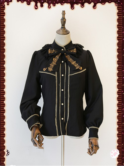 Gold Strings Series Black Thickened Lolita Long Sleeve Shirt