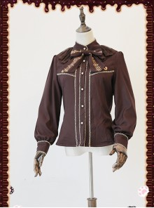 Gold Strings Series Coffee Color Thickened Chiffon Lolita Long Sleeve Shirt