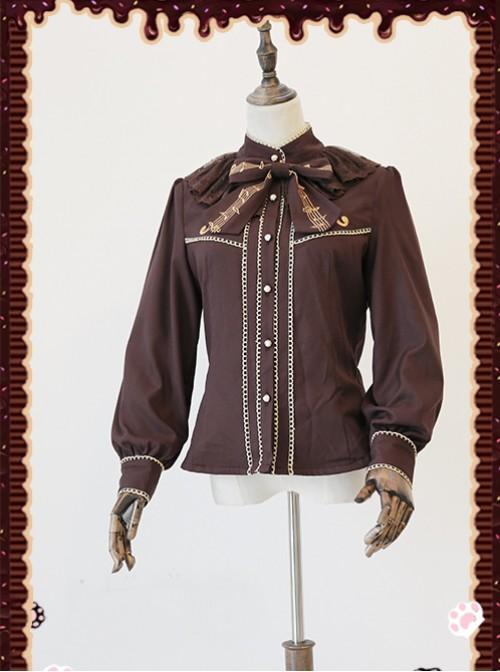 Gold Strings Series Coffee Color Thickened Chiffon Lolita Long Sleeve Shirt