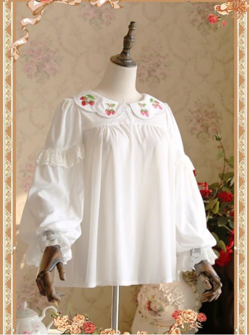 Strawberry Embroidery Series Double-sided Wear White Chiffon Lolita Long Sleeve Shirt