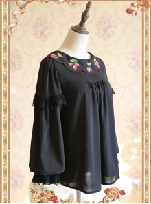 Strawberry Embroidery Series Double-sided Wear Black Chiffon Lolita Long Sleeve Shirt