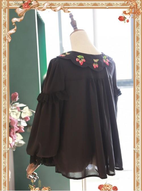 Strawberry Embroidery Series Double-sided Wear Black Chiffon Lolita Long Sleeve Shirt