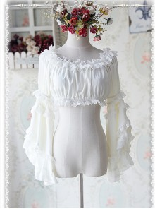 Milky White Chiffon Lolita Super Short Top With Detachable trumpet Sleeve