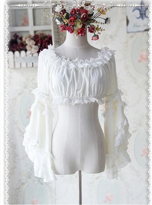 Milky White Chiffon Lolita Super Short Top With Detachable trumpet Sleeve