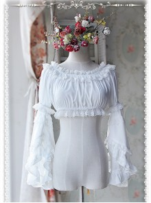 White Chiffon Lolita Super Short Top With Detachable trumpet Sleeve