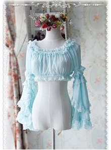 Baby Blue Chiffon Lolita Super Short Top With Detachable trumpet Sleeve