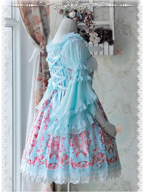 Baby Blue Chiffon Lolita Super Short Top With Detachable trumpet Sleeve