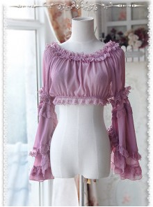 Purple-red Chiffon Lolita Super Short Top With Detachable trumpet Sleeve