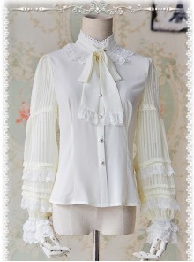 Chiffon Creamy-white Transparent Glass Striped Stand Collar Bow-tie Lolita Long Sleeve Shirt