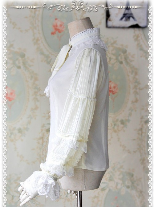 Chiffon Creamy-white Transparent Glass Striped Stand Collar Bow-tie Lolita Long Sleeve Shirt