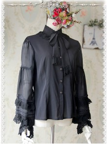 Chiffon Black Transparent Glass Striped Stand Collar Bow-tie Lolita Long Sleeve Shirt