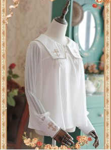 White Crucifix Chiffon Embroidery Square Neckline Lolita Long Sleeve Shirt