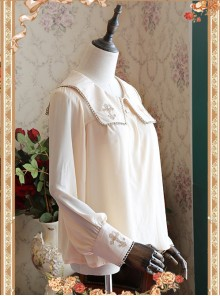 Mocha Color Crucifix Chiffon Embroidery Square Neckline Lolita Long Sleeve Shirt