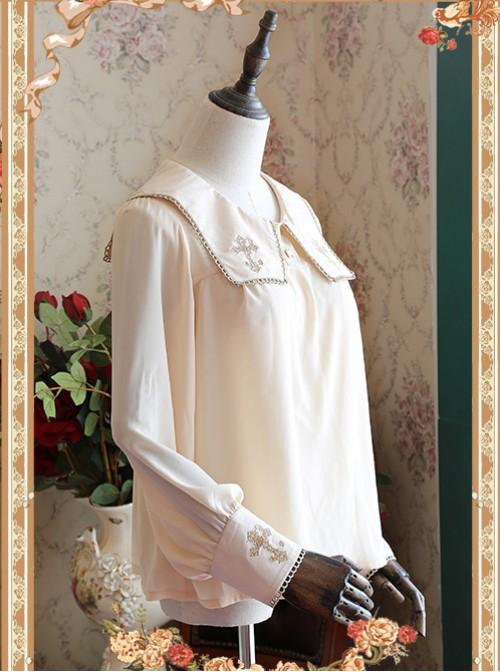 Mocha Color Crucifix Chiffon Embroidery Square Neckline Lolita Long Sleeve Shirt
