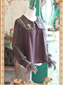 Coffee Color Crucifix Chiffon Embroidery Square Neckline Lolita Long Sleeve Shirt