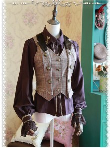 Detective Style Beck Street Dense Fog Series Khaki Lolita Vest