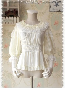 Glass Stripe Big Bubble Sleeve Lolita Milky White Half Sleeves Shirt