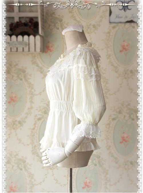 Glass Stripe Big Bubble Sleeve Lolita Milky White Half Sleeves Shirt