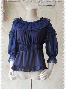 Glass Stripe Big Bubble Sleeve Lolita Deep Blue Half Sleeves Shirt