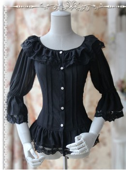 Daily Version Fairy Dance Series Black Small Trumpet Sleeves Lolita Shirt