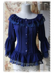 Daily Version Fairy Dance Series Deep Blue Small Trumpet Sleeves Lolita Shirt