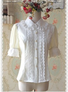 Milky White Elegance Lace Glass Stripes Short Sleeve Lolita Shirt
