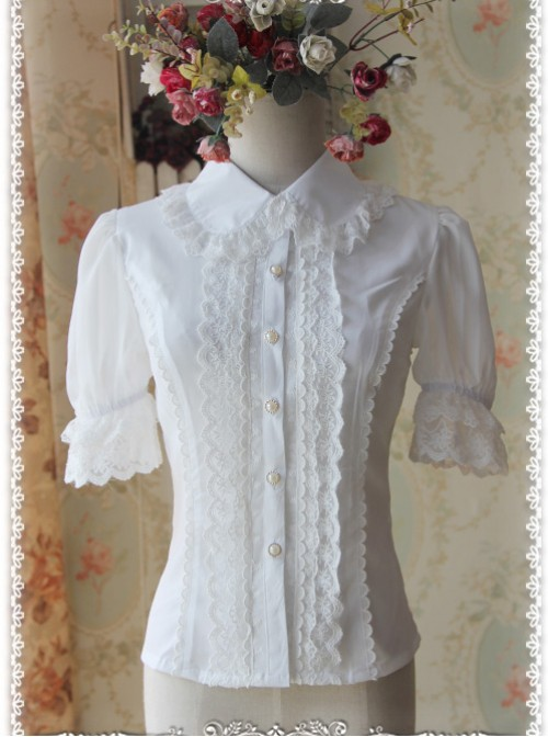 White Elegance Lace Glass Stripes Short Sleeve Lolita Shirt