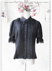 Black Elegance Lace Glass Stripes Short Sleeve Lolita Shirt