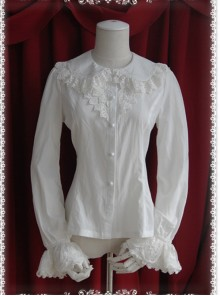 Thickened Chiffon Creamy-white Lace Long Sleeve Lolita Shirt