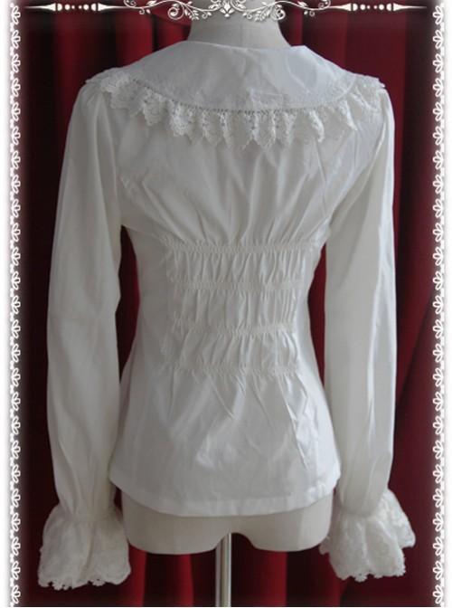 Thickened Chiffon Creamy-white Lace Long Sleeve Lolita Shirt