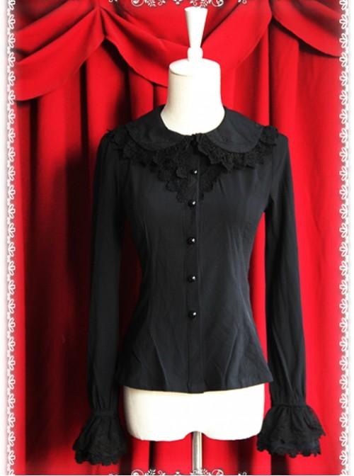 Thickened Chiffon Black Lace Long Sleeve Lolita Shirt