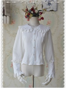 Infanta The Roses Funeral Series White Chiffon Glass Stripes Lolita Long Sleeve Shirt