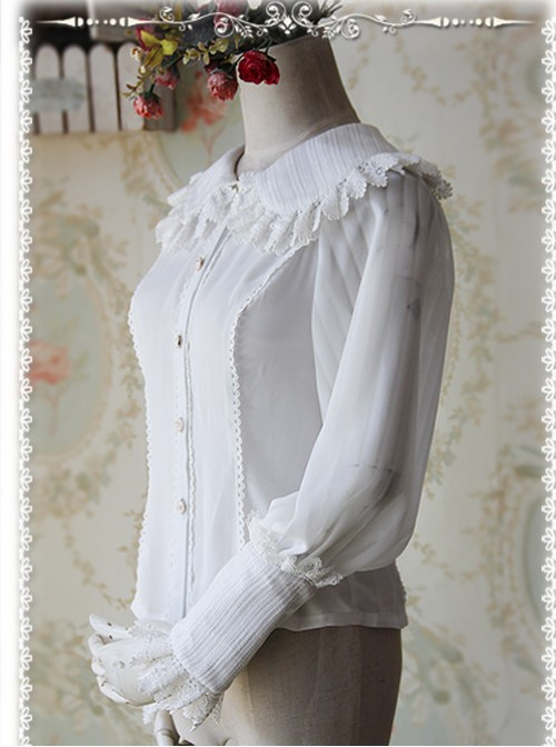 Infanta The Roses Funeral Series White Chiffon Glass Stripes Lolita Long Sleeve Shirt