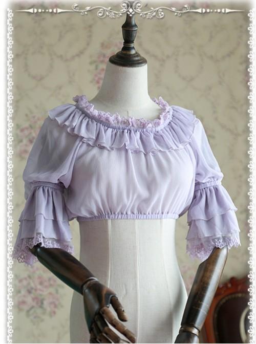 Infanta Chiffon Trumpet Sleeve Lolita Super Short Shirt