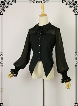 Halloween Black Bat collar Lolita Long Sleeve Shirt