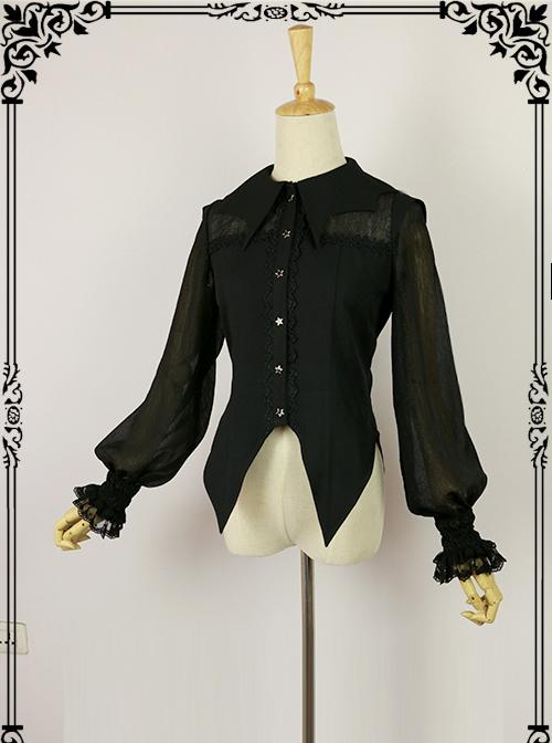 Halloween Black Bat collar Lolita Long Sleeve Shirt