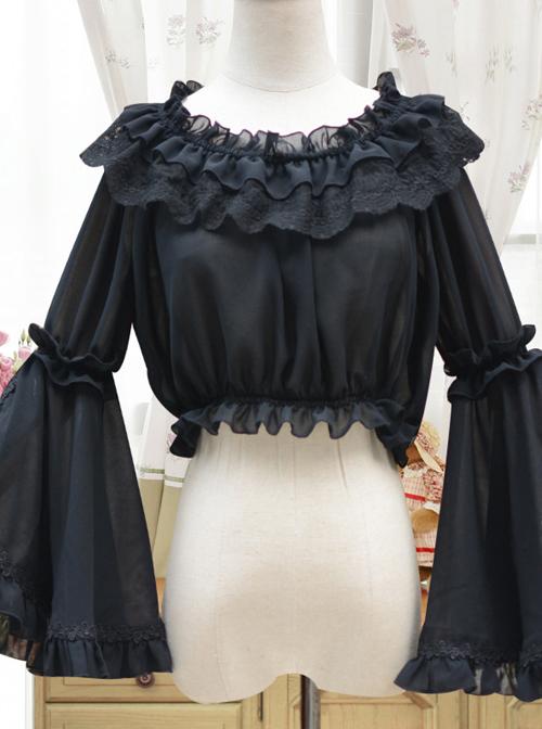 Retro Trumpet Sleeves Chiffon Lolita Short Shirt