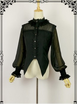 Halloween Black Little Standing Collar Lace Lolita Long Sleeve Shirt