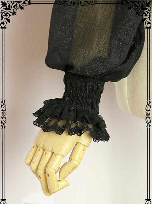 Halloween Black Little Standing Collar Lace Lolita Long Sleeve Shirt